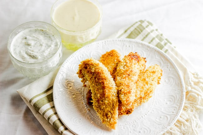 Baked Chicken Fingers with Homemade Ranch and Homemade Honey Mustard Dipping Sauces-5