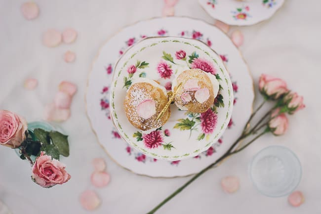 Rosewater Cream Puffs with Sugared Rose Petals-29
