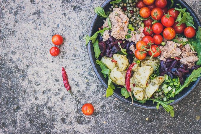 mediterranean tuna and potato summer salad-6