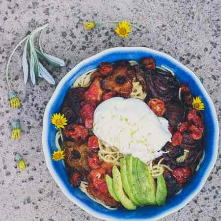 Pasta with Burrata, Avocado, & Roasted Heirloom Tomatoes & Onions