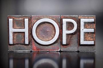 Letters spelling hope