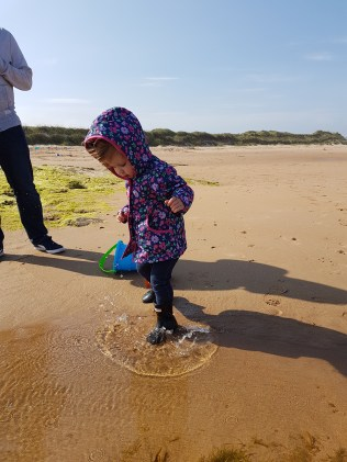 Going in to the brim of your wellies is the only way to play in the water....