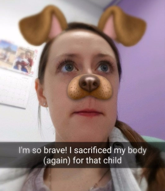 I'm so brave! I sacrificed my body (again) for that child