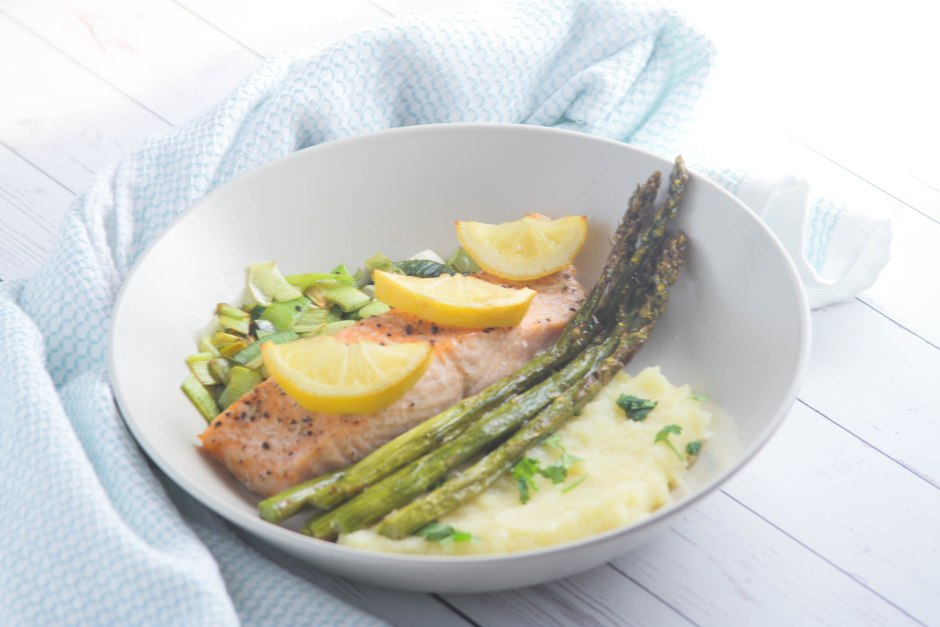 grilled salmon with parsnip mash and sauteed leeks