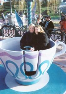 Helen & Angela riding the tea cups