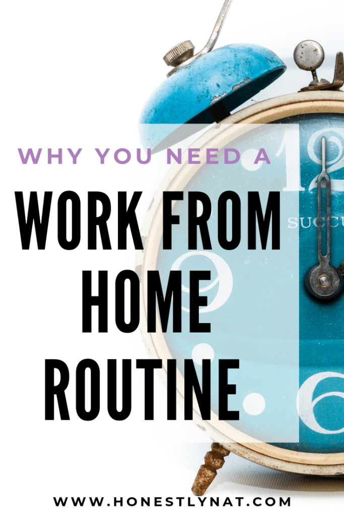 """Teal blue alarm clock with the text overlay """"Why you need a work from home routine"""""""