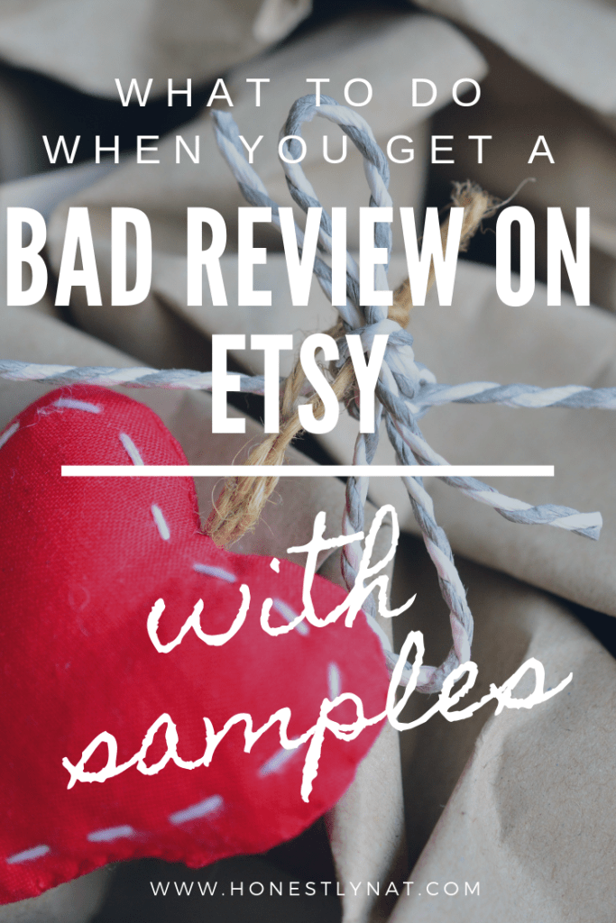 "A hand stitched stuffed heart on top of a brown paper package with the text overlay ""What to do when you get a bad review on Etsy - with samples"""