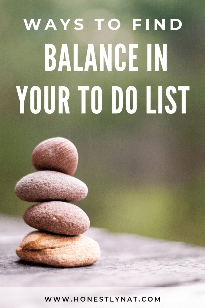 """Stack of rocks balancing on table with the text overlay """"Ways to find balance in your to do list"""""""