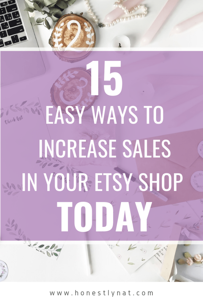 """Flat lay of wedding stationery designer and text overlay """"15 Easy Ways to Increase Sales in your Etsy Shop Today"""""""