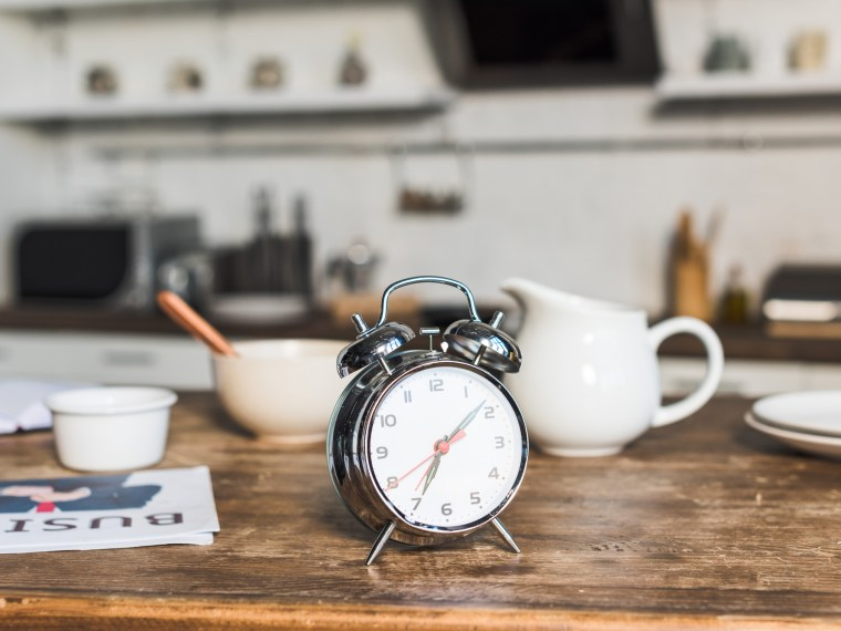 Clock on breakfast table