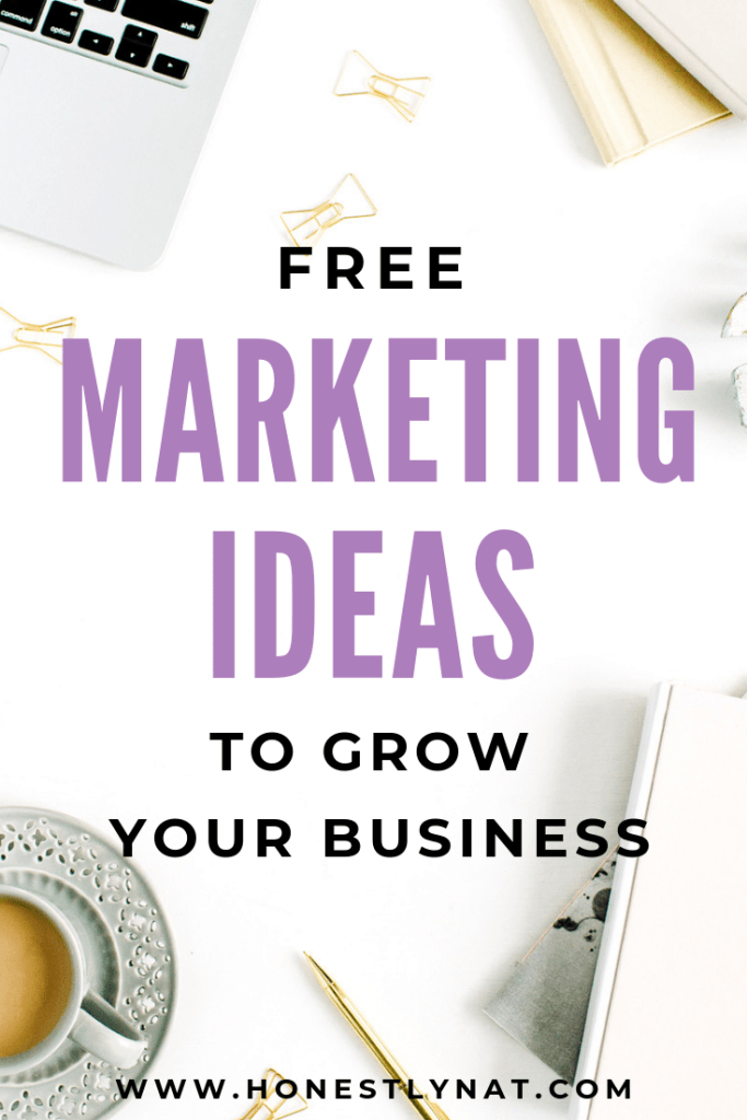 """White desk flat lay with text overlay """"Free marketing ideas to grow your business"""""""