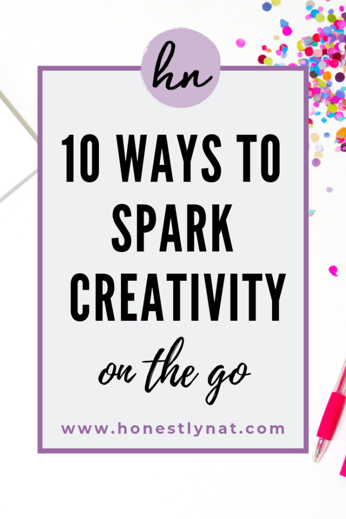 "Desk with confetti and laptop with the text overlay ""10 Ways to Spark Creativity on the go"""