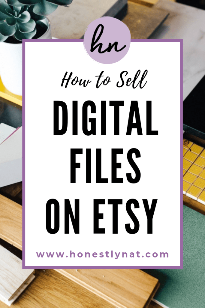 "Decorative designer's desk with the text overlay ""How to sell digital files on Etsy"""