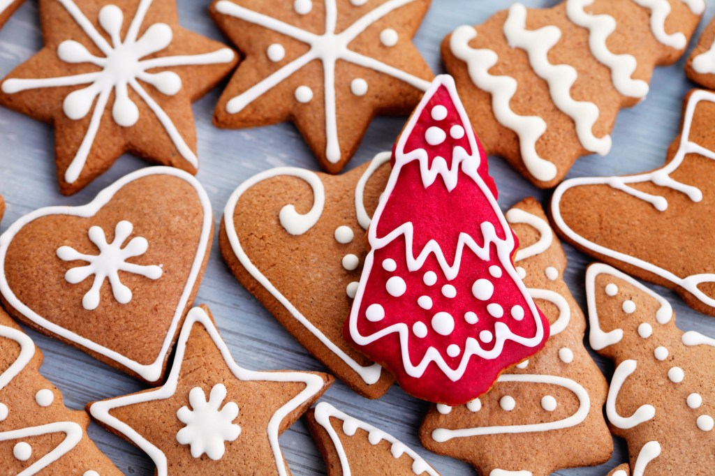 Christmas gingerbread cookies with red Christmas tree
