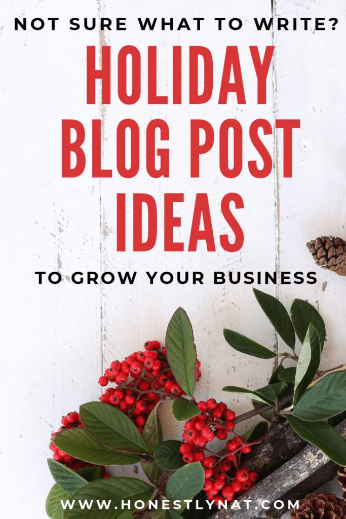 "Festive evergreen on a rustic wood background with the text overlay ""Not sure what to write?  Holiday blog post ideas to grow your business"""