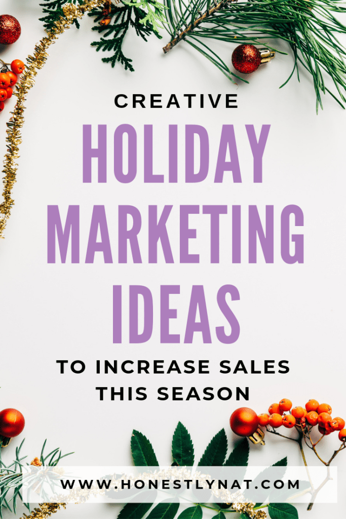 """Christmas flat lay with evergreen boughs and the text overlay """"Creative holiday marketing ideas to increase sales this season"""""""