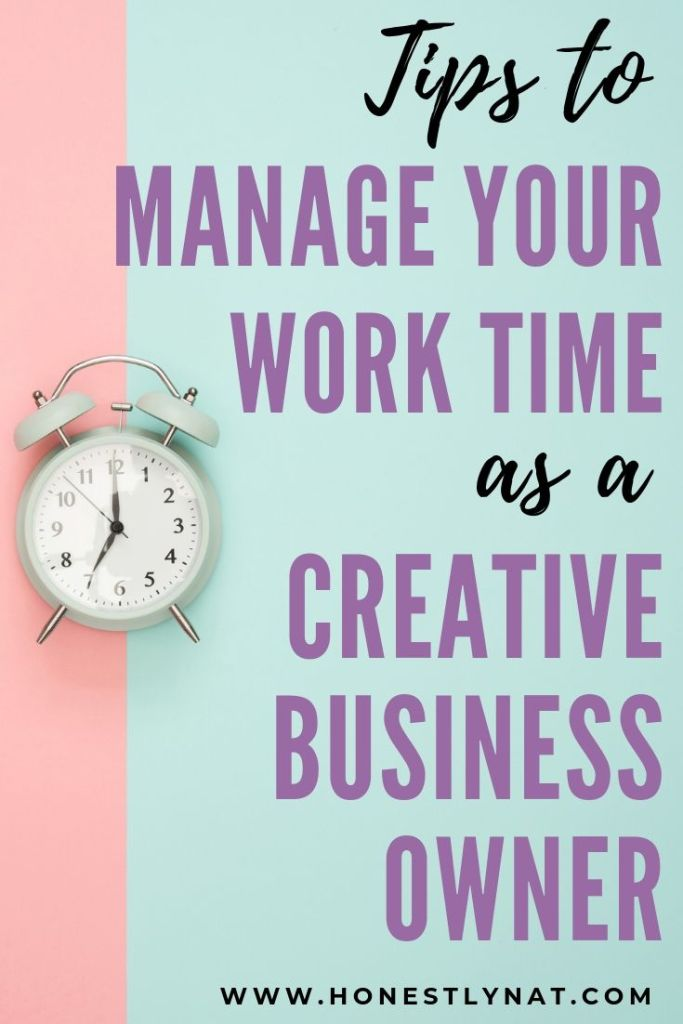 """Colorful flat lay with alarm clock and the text overlay """"Tips to manage your work time as a creative business owner"""""""