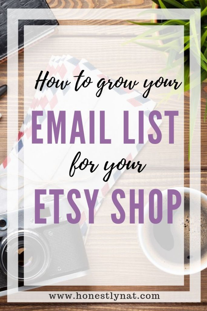 """Desk flat lay with coffee and camera and the text overlay """"Howt o grow your email list for your Etsy shop"""""""