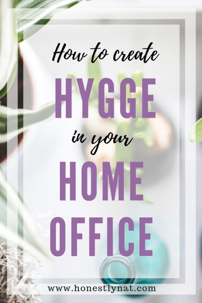 """Overview photo of plants with the text overlay """"How to create hygge in your home office"""""""