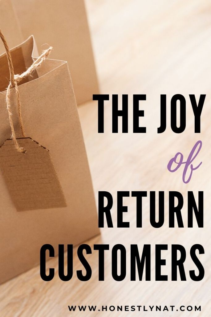 """Close up of kraft shopping bag with the text overlay """"The Joy of Return Customers"""""""