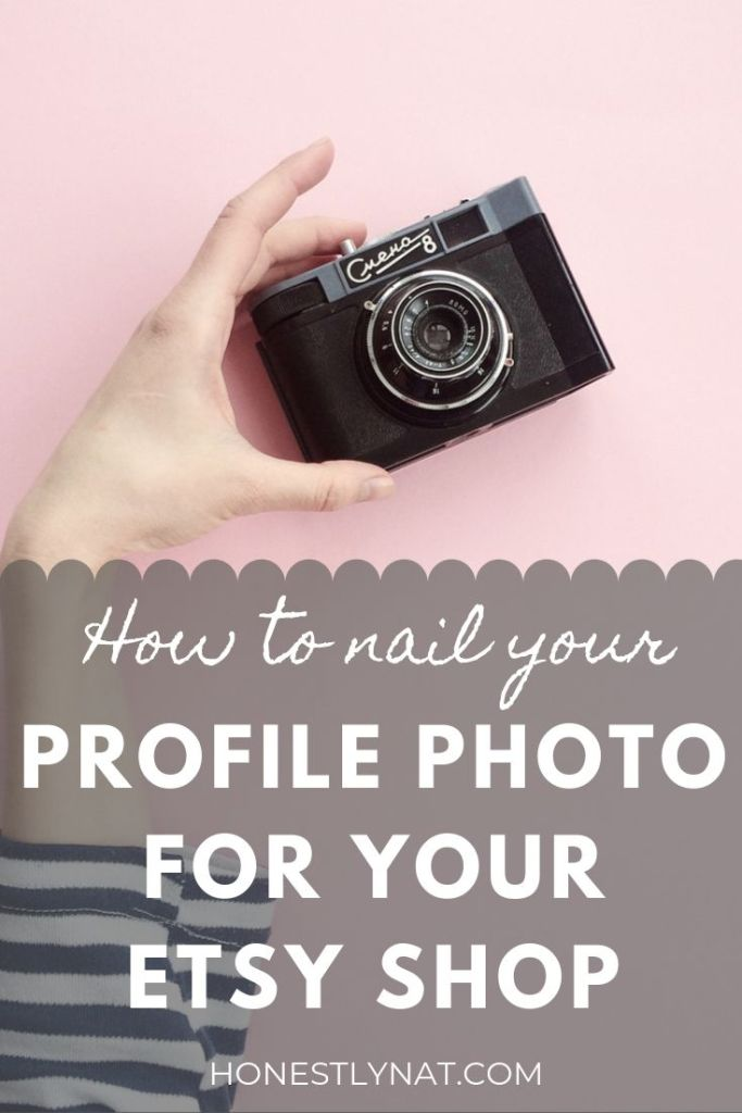 "Woman's hand holding up camera on pink background with the text overlay ""How to nail your profile photo for your Etsy shop"""