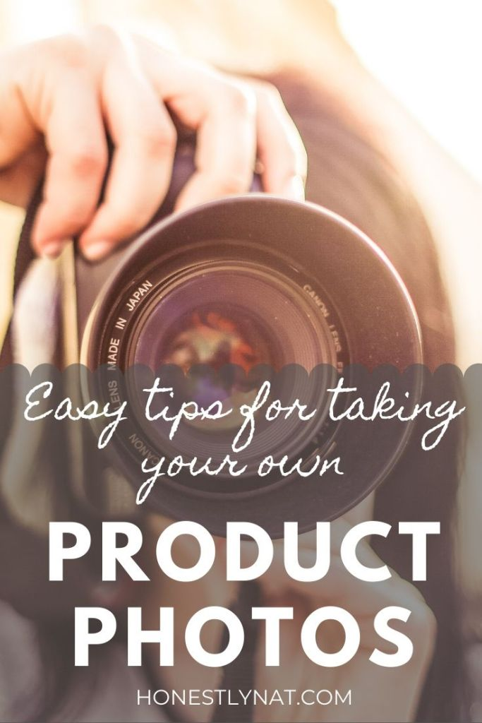 "Woman taking a photo with a camera and the text overlay ""Easy tips for taking your own product photos"""