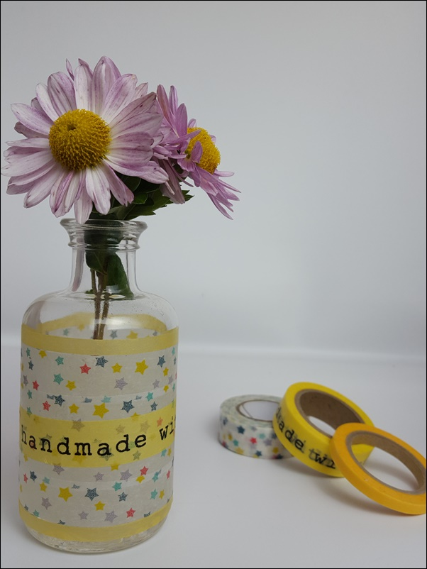 Blumenvase bekleben mit Washi Tape