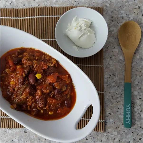 Chili con Carne mit Hackfleisch und Kidneybohnen