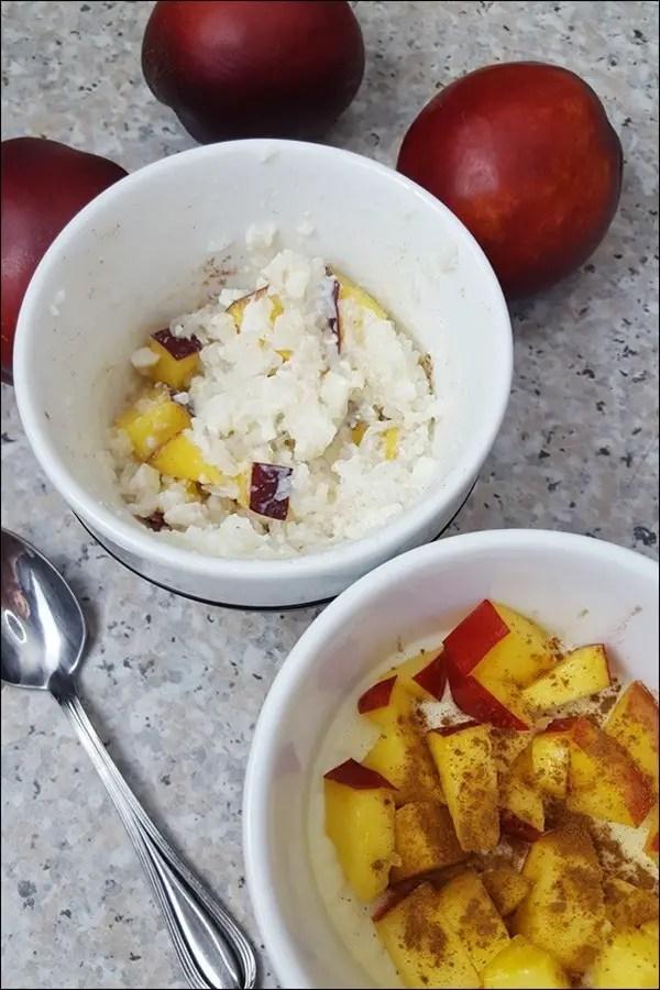 Lowcarb Milchreis Vanille mit Pfirsichen und Zimt