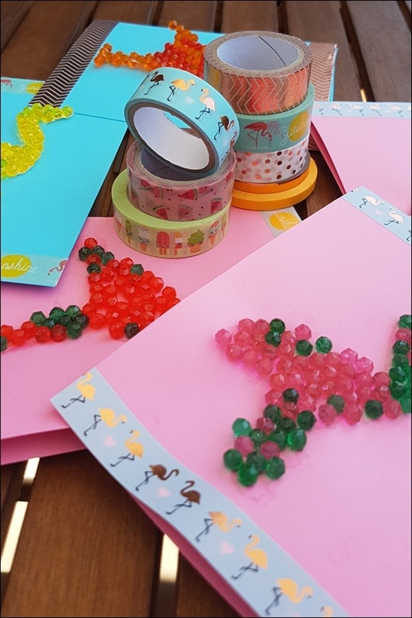 Flamingo Einladungskarten Basteln mit Aquabeads