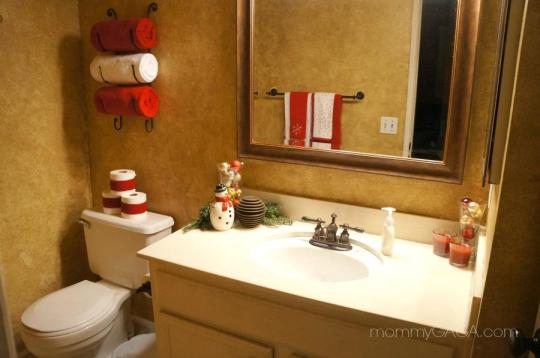 Holiday decorations in the guest bathroom