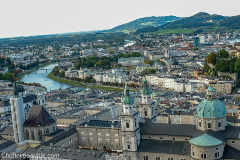 Landscape view of Salzburg City taken from the Hohensalzburg Fortress