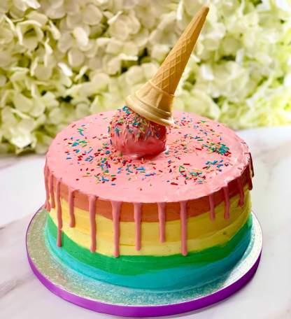 Hot Rainbow Melt Cake with ice cream cone