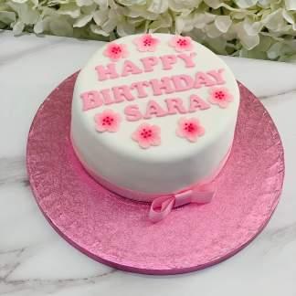Simple Pink Flower Fondant Cake