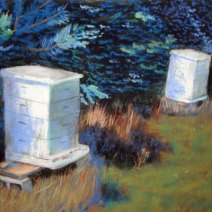 Pastel of Iowa hive by Jim Davis. Bees101 is the blog of Jim and Kathy Davis.