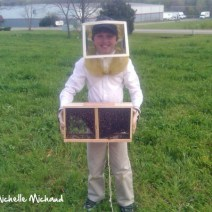 Koty with his new package of bees.