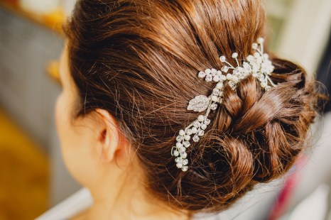 Bridal shop review by Clare wearing wedding hair piece from Honeyblossom Bridal