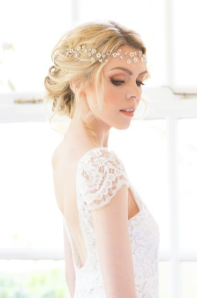 Crystal and pearl boho bridal hair vine - Eden