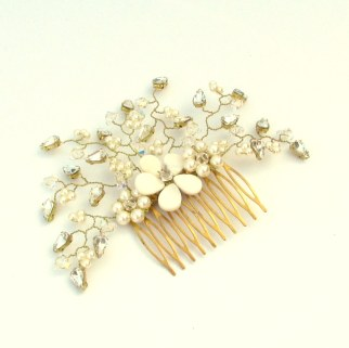Floral freshwater pearl and Swarovski gold bridal hair slide - Daisy