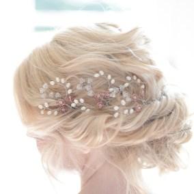 Pearl and coloured crystal wedding hair pins - Iris