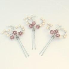 Pearl and coloured crystal bridal hair pins - Iris