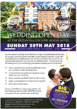 Britannia Country House Hotel Wedding Open Day Flyer