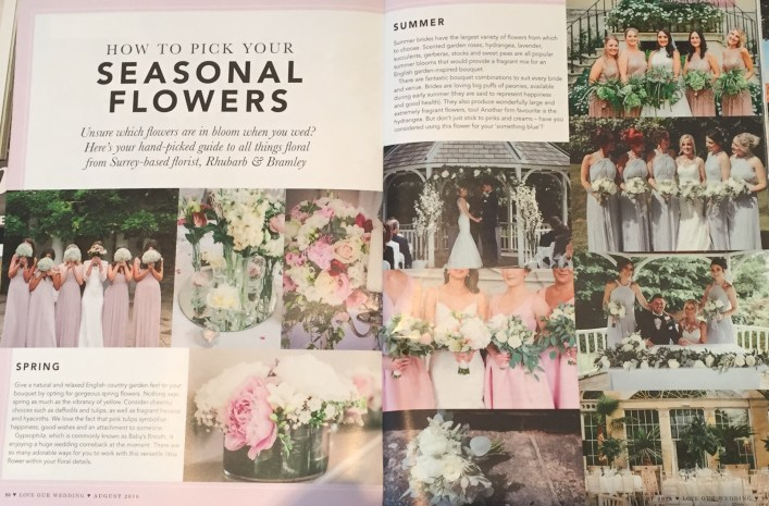 Love Our Wedding Magazine August 2018 wedding flowers