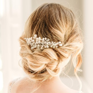Pearl and Swarovski crystal bridal hair slide - Madelyn