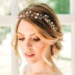 Handmade rose gold and pearl hair vine - Aylin
