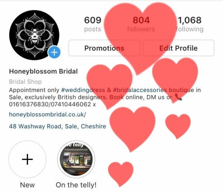Honeyblossom Bridal boutique Cheshire Instagram milestone