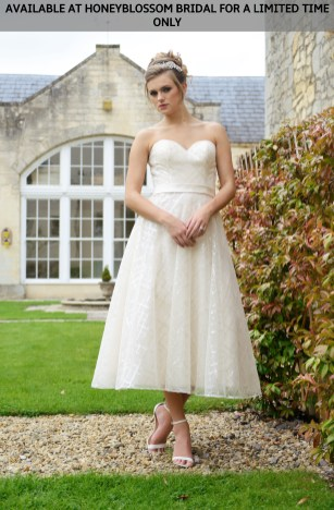 Catherine Parry Reese tea length wedding dress - Available at Honeyblossom Bridal for a limited time only