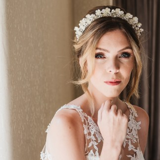 Floral and pearl bridal crown - Rhea
