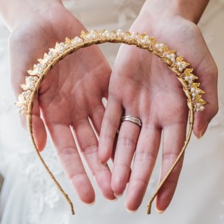 Gold and pearl bride hairband -Hera