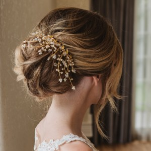 Gold and Swarovski crystal bridal haircomb - Aura